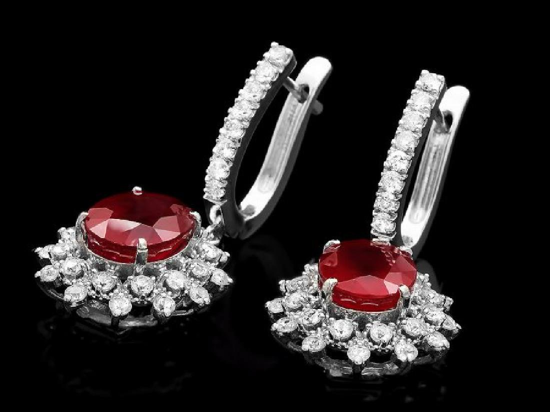 14k Gold 8.00ct Ruby 2.00ct Diamond Earrings