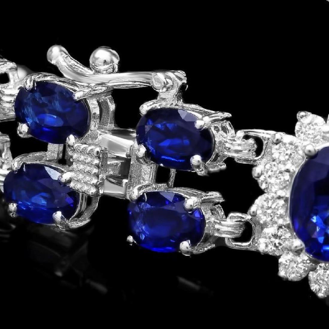 14k Gold 23.00ct Sapphire 1.50ct Diamond Bracelet - 3