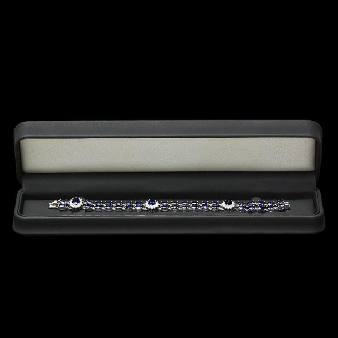 14k Gold 23.00ct Sapphire 1.50ct Diamond Bracelet - 4
