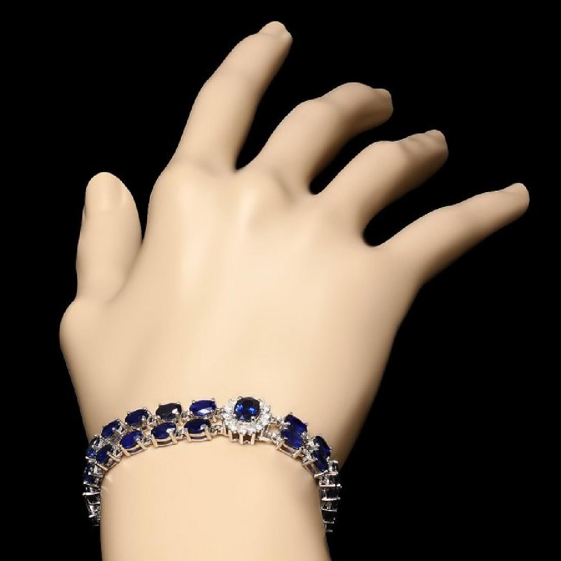 14k Gold 23.00ct Sapphire 1.50ct Diamond Bracelet - 5