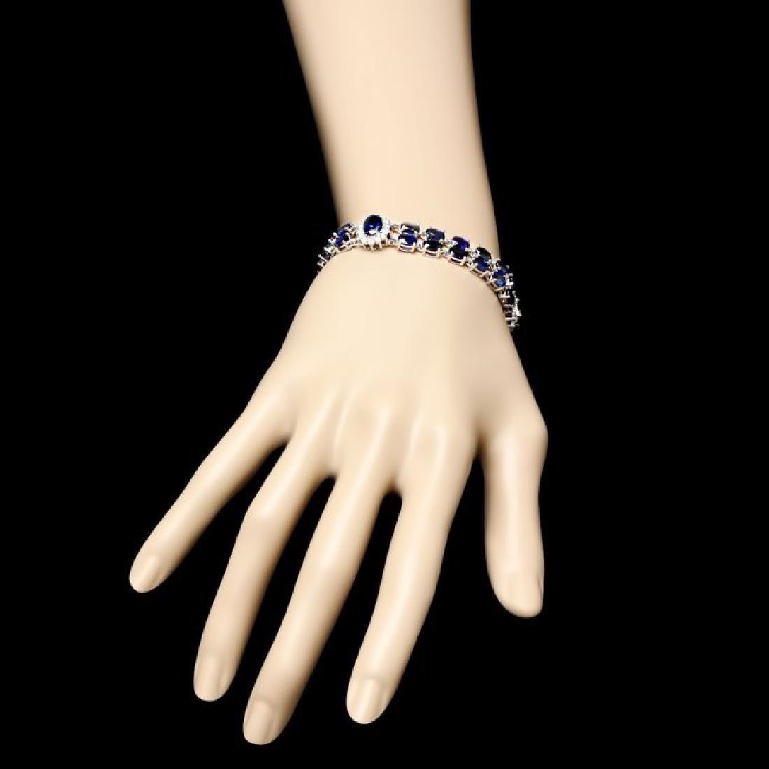 14k Gold 23.00ct Sapphire 1.50ct Diamond Bracelet - 6