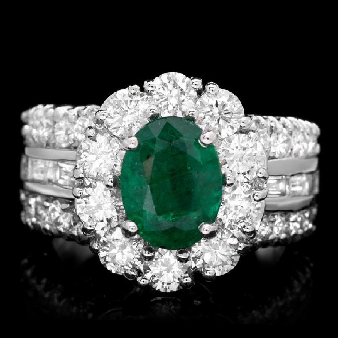 14k White Gold 2.10ct Emerald 3ct Diamond Ring