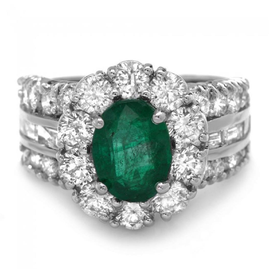 14k White Gold 2.10ct Emerald 3ct Diamond Ring - 2