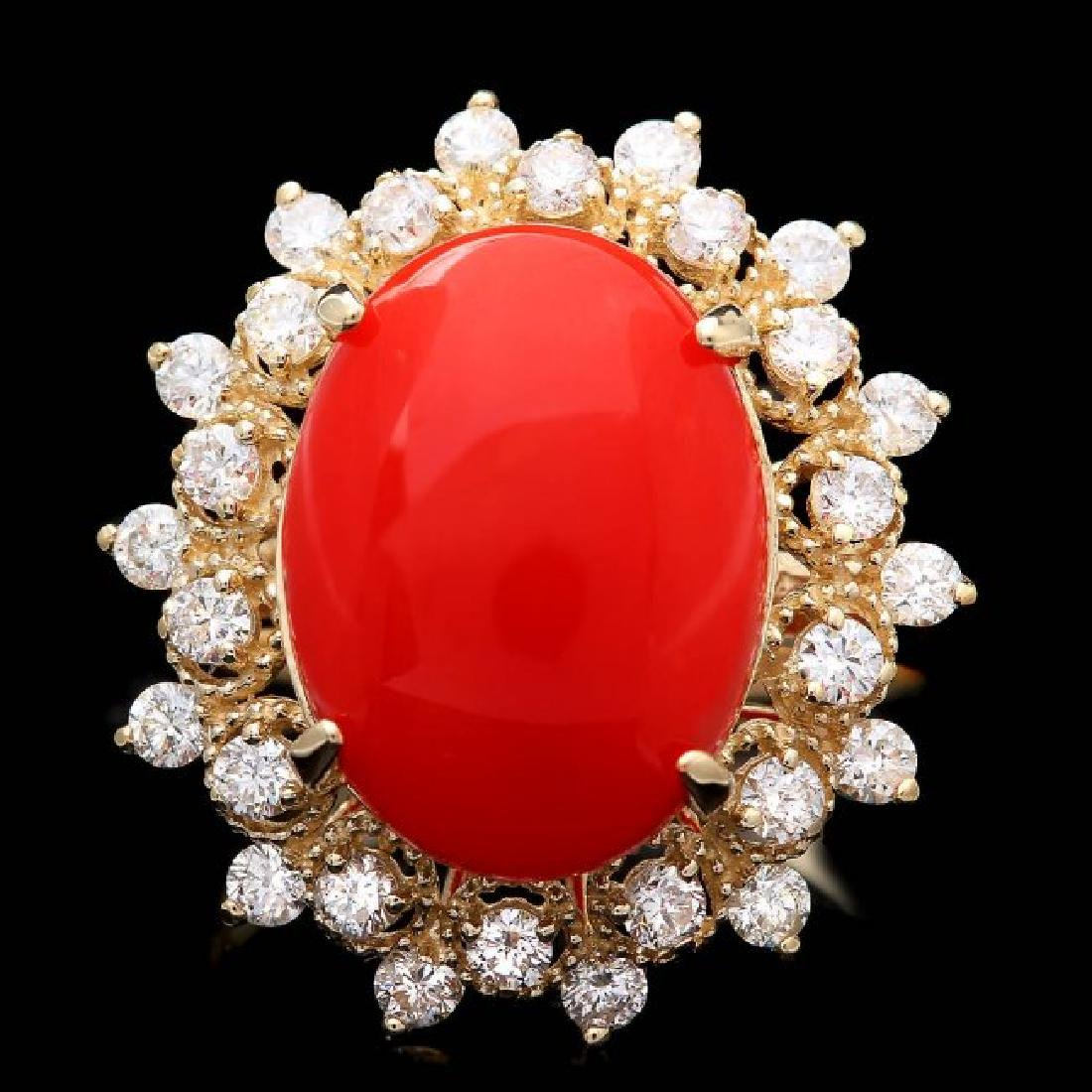 14k Yellow Gold 5.50ct Coral 0.90ct Diamond Ring