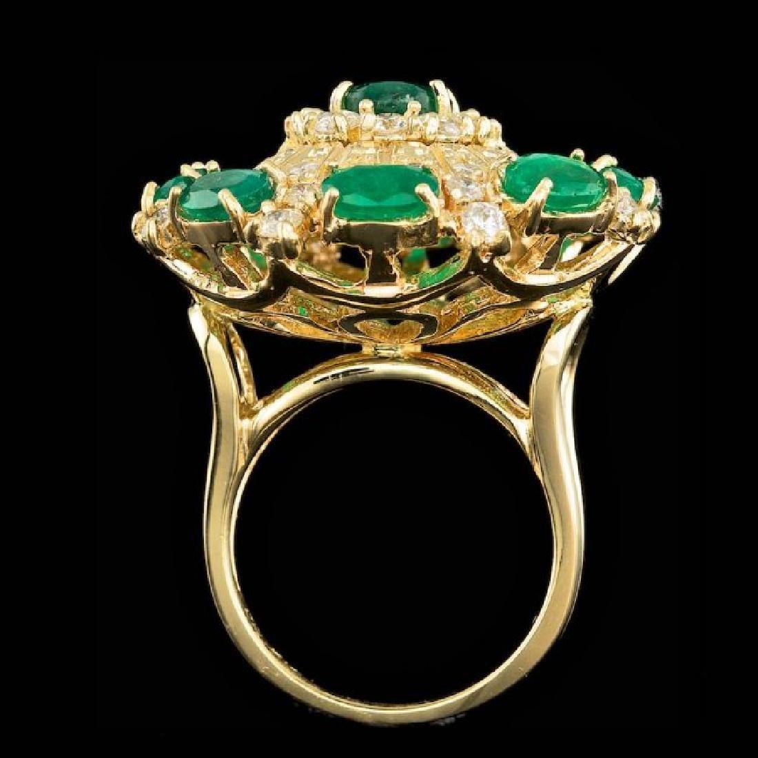 14k Gold 5.00ct Emerald 2.00ct Diamond Ring - 3