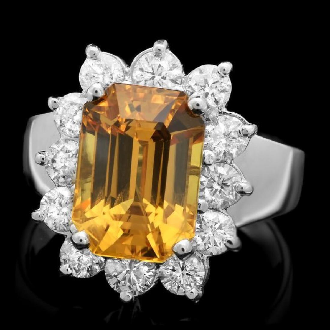 18k Gold 6.50ct Sapphire 1.30ct Diamond Ring