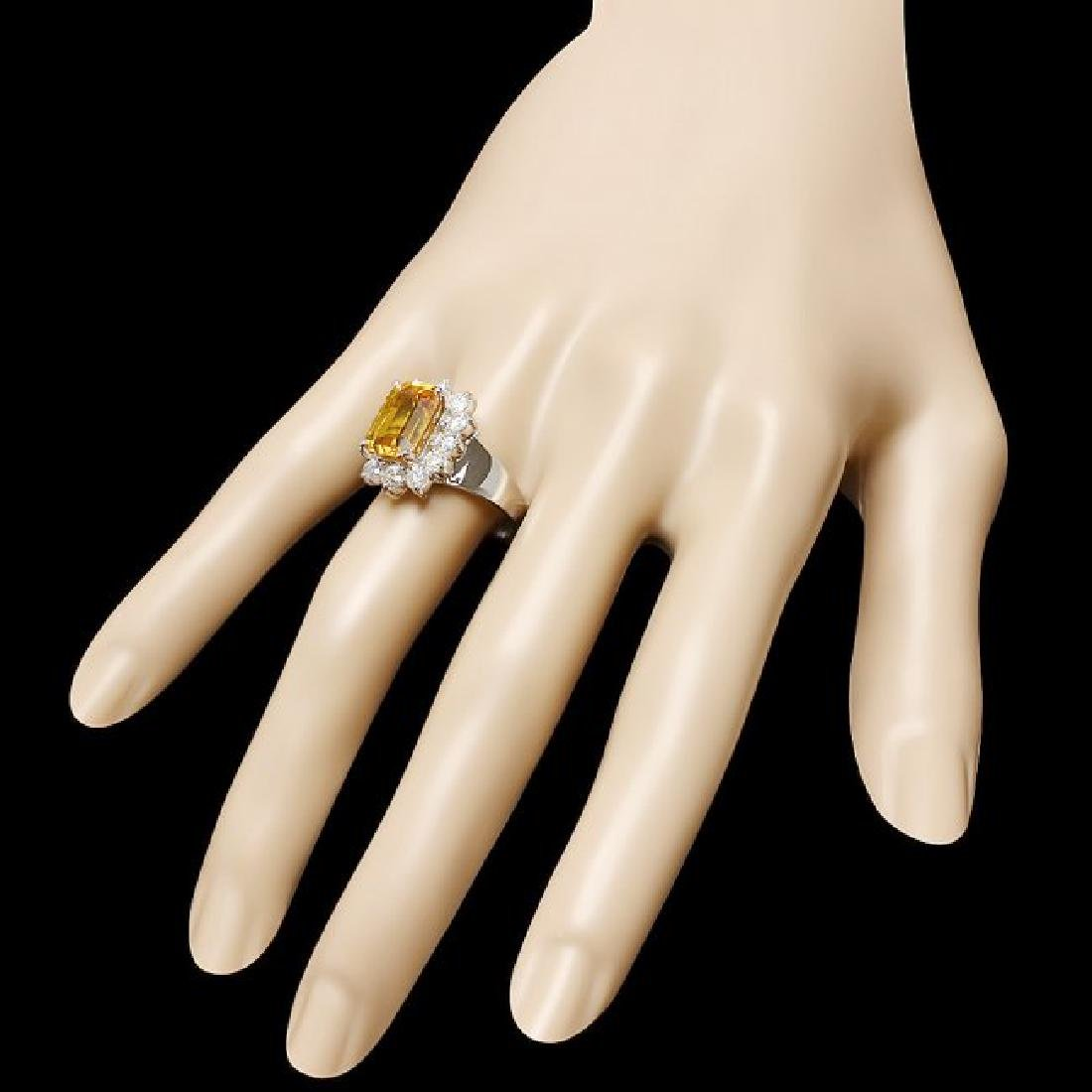 18k Gold 6.50ct Sapphire 1.30ct Diamond Ring - 3