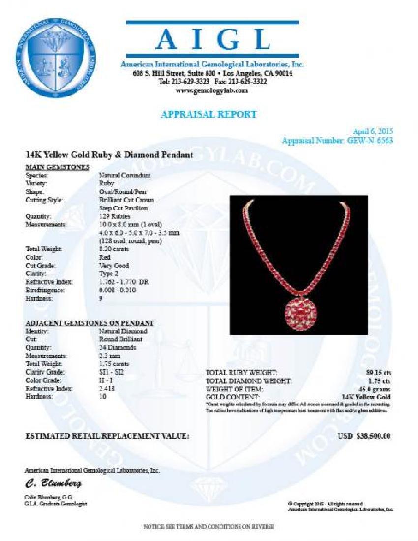 14k Gold 89.15ct Ruby 1.75ct Diamond Pendant - 7