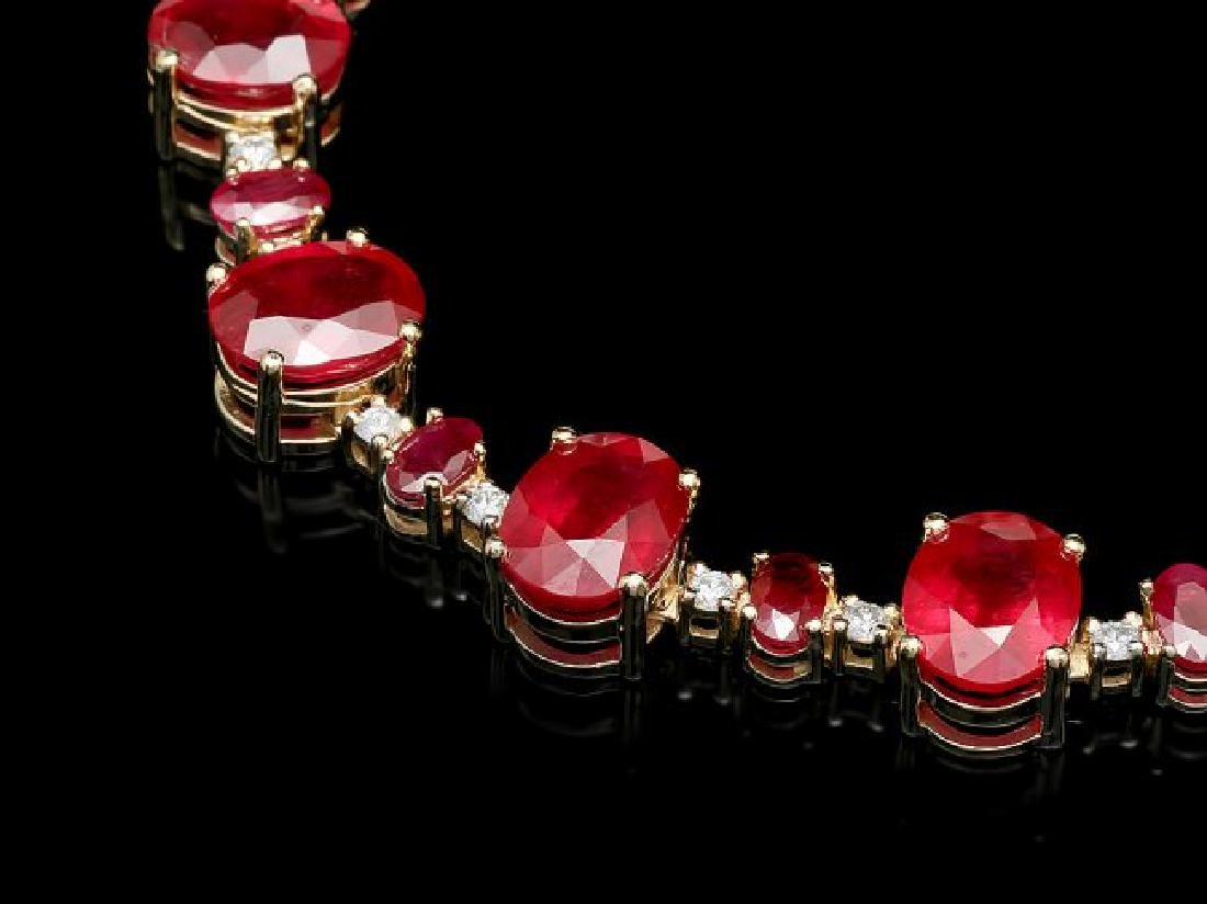 14k Yellow Gold 73ct Ruby 2.00ct Diamond Necklace - 2