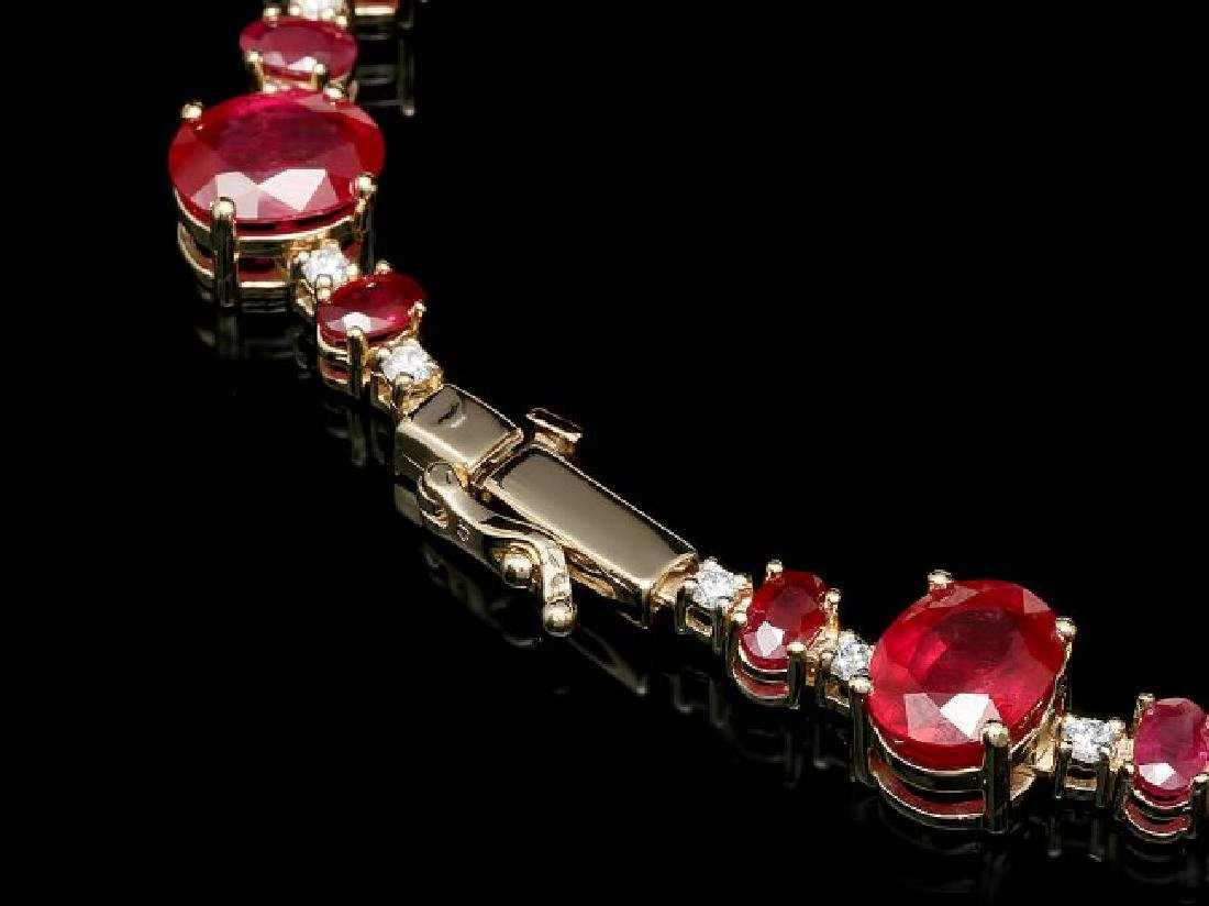 14k Yellow Gold 73ct Ruby 2.00ct Diamond Necklace - 3