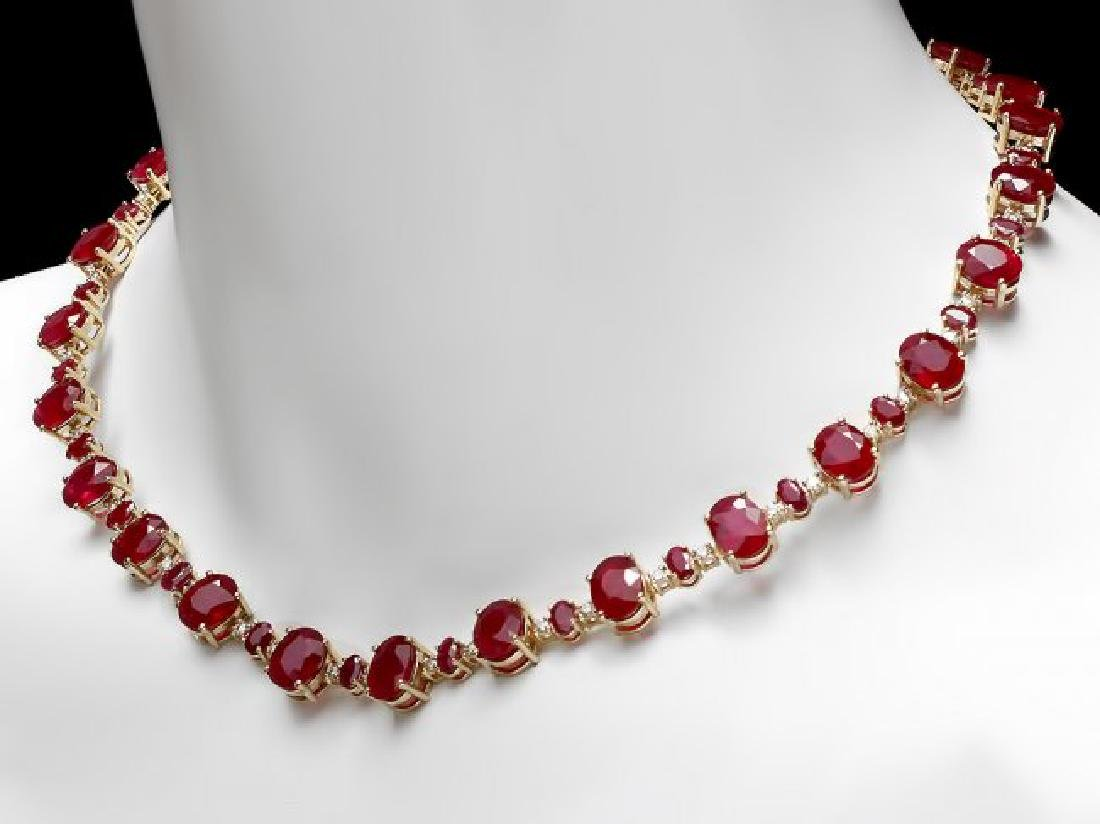 14k Yellow Gold 73ct Ruby 2.00ct Diamond Necklace - 5