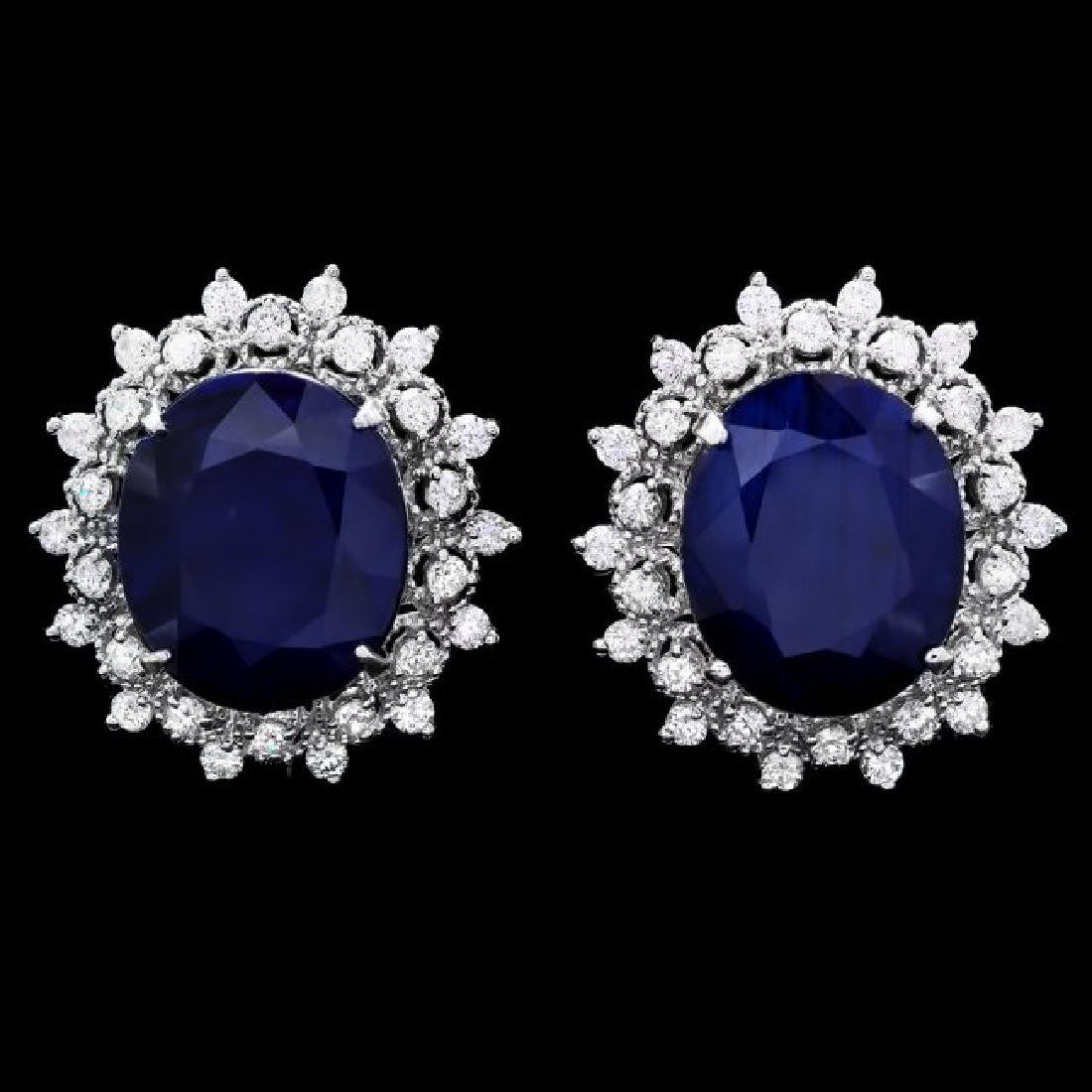 14k Gold 18ct Sapphire 1.35ct Diamond Earrings
