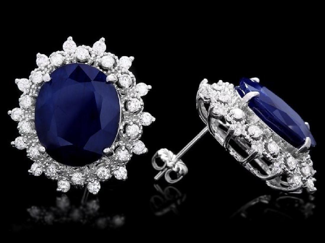 14k Gold 18ct Sapphire 1.35ct Diamond Earrings - 3