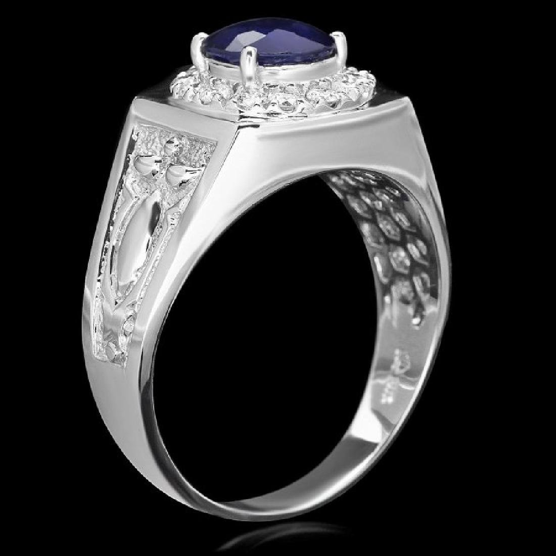 14k Gold 2.5ct Sapphire .60ct Diamond Mens Ring - 2