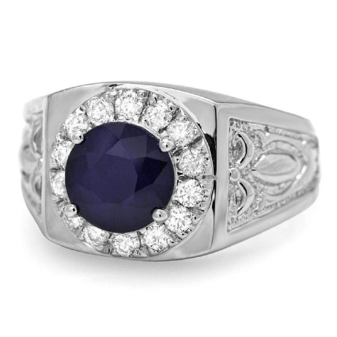 14k Gold 2.5ct Sapphire .60ct Diamond Mens Ring - 3