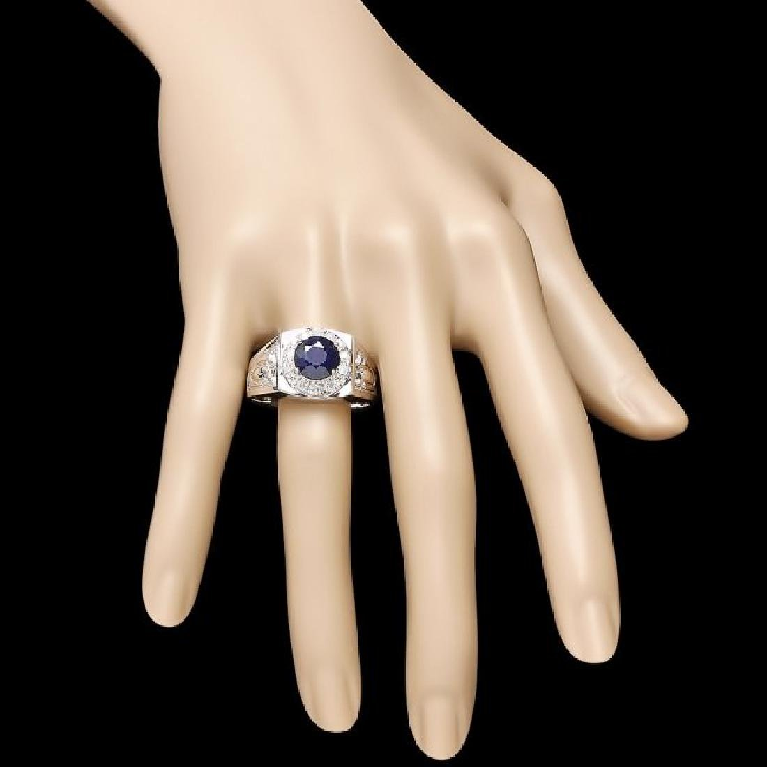 14k Gold 2.5ct Sapphire .60ct Diamond Mens Ring - 4