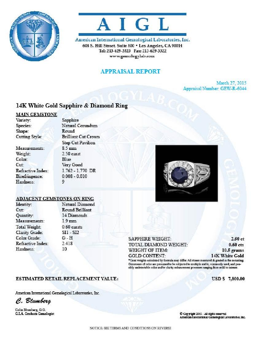 14k Gold 2.5ct Sapphire .60ct Diamond Mens Ring - 5