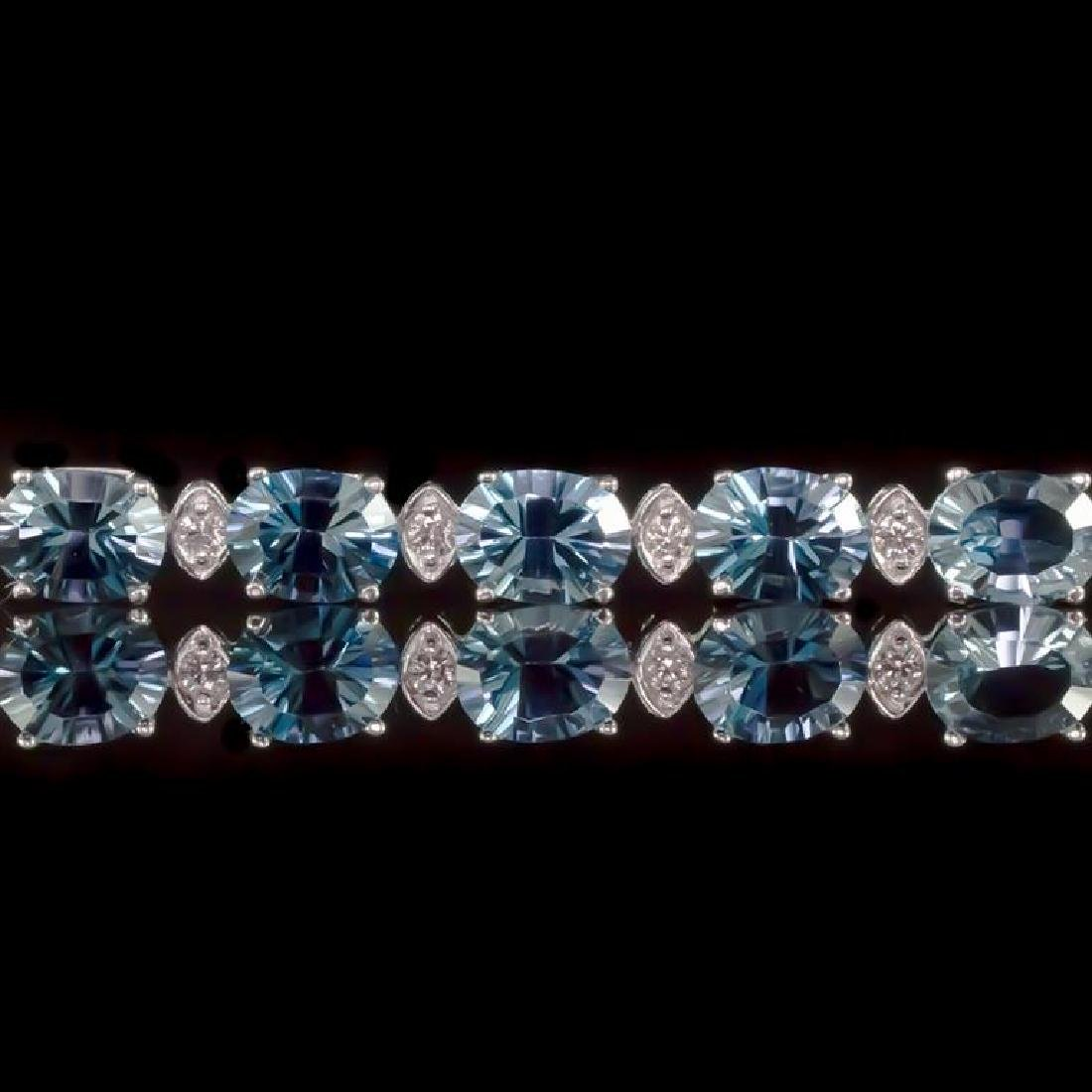 14K Gold 22.68ct Blue Topaz 0.80ct Diamond Bracelet - 2