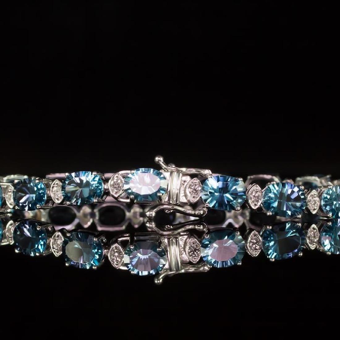 14K Gold 22.68ct Blue Topaz 0.80ct Diamond Bracelet - 3