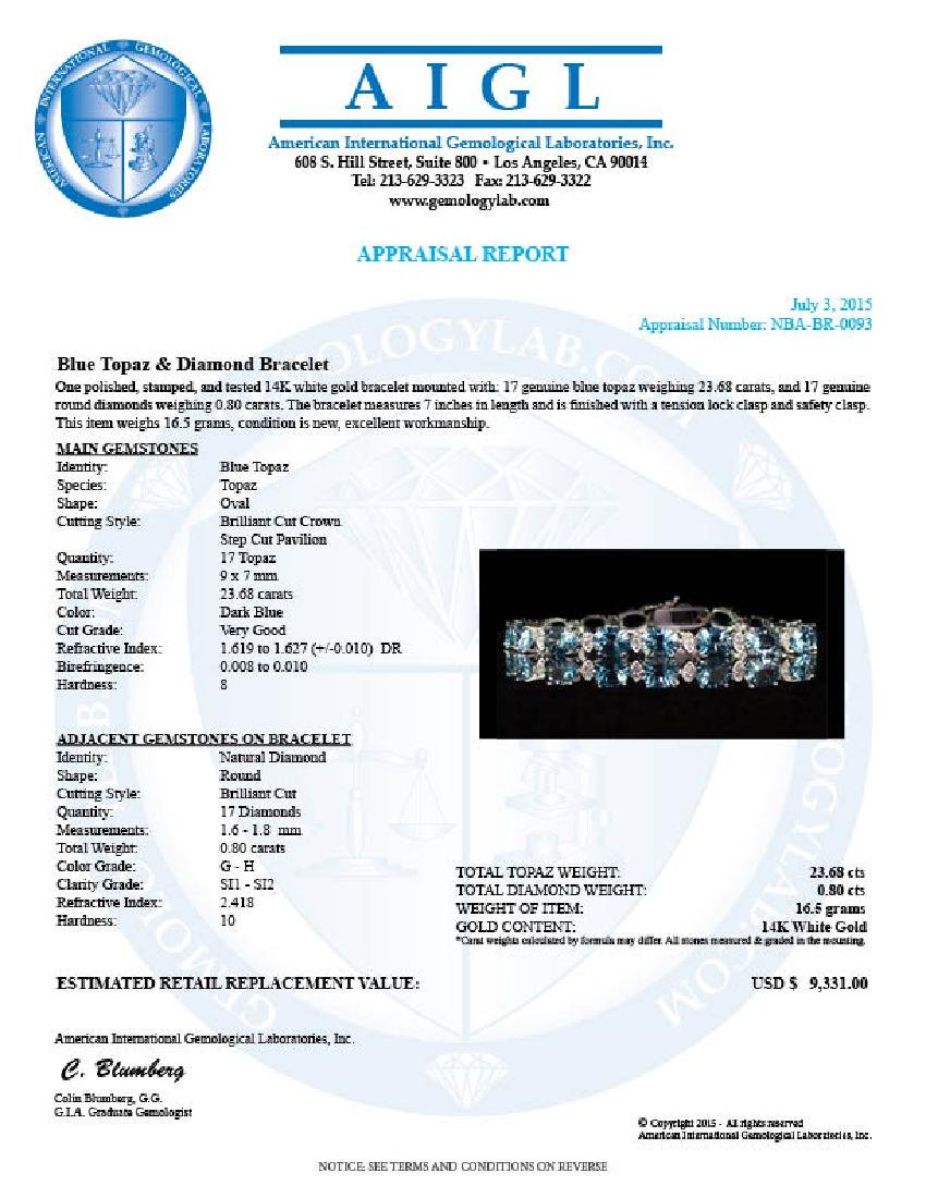 14K Gold 22.68ct Blue Topaz 0.80ct Diamond Bracelet - 4