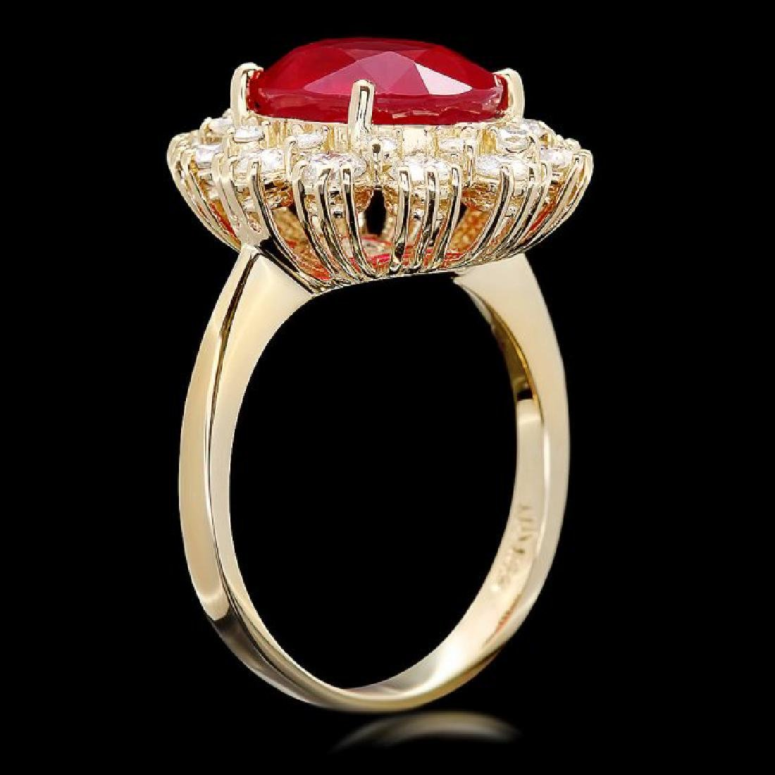 14k Yellow Gold 5.50ct Ruby 1.30ct Diamond Ring - 3