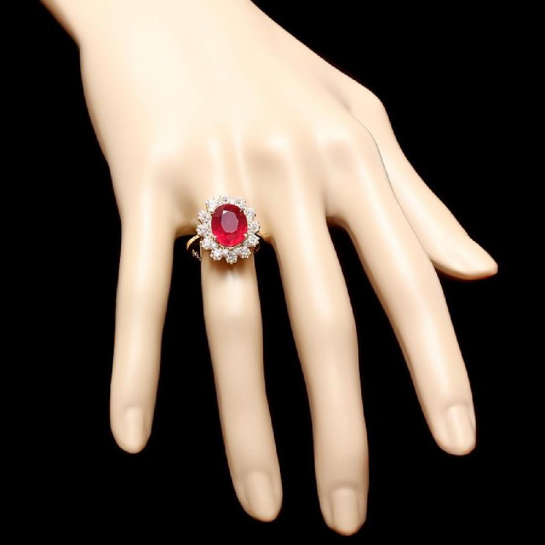 14k Yellow Gold 5.50ct Ruby 1.30ct Diamond Ring - 4