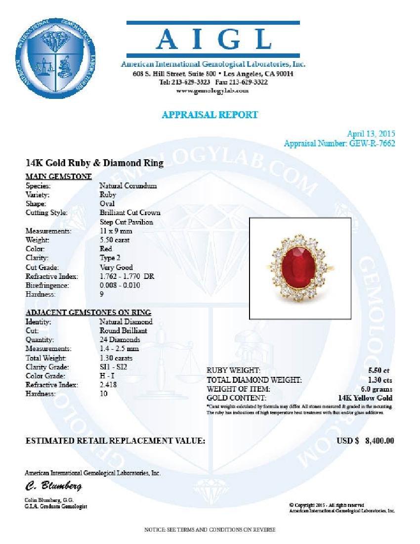 14k Yellow Gold 5.50ct Ruby 1.30ct Diamond Ring - 5