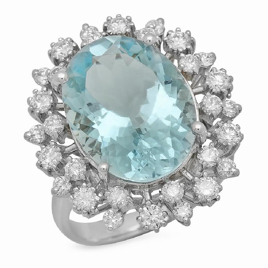 14K Gold 8.00ct Aquamarine 1.23ct Diamond Ring