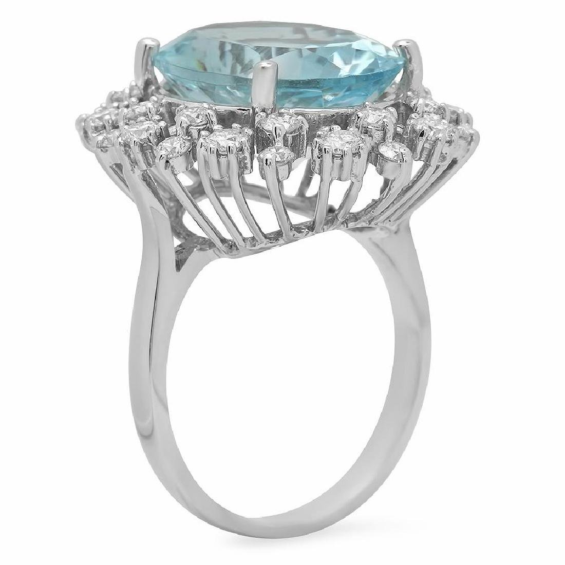 14K Gold 8.00ct Aquamarine 1.23ct Diamond Ring - 2