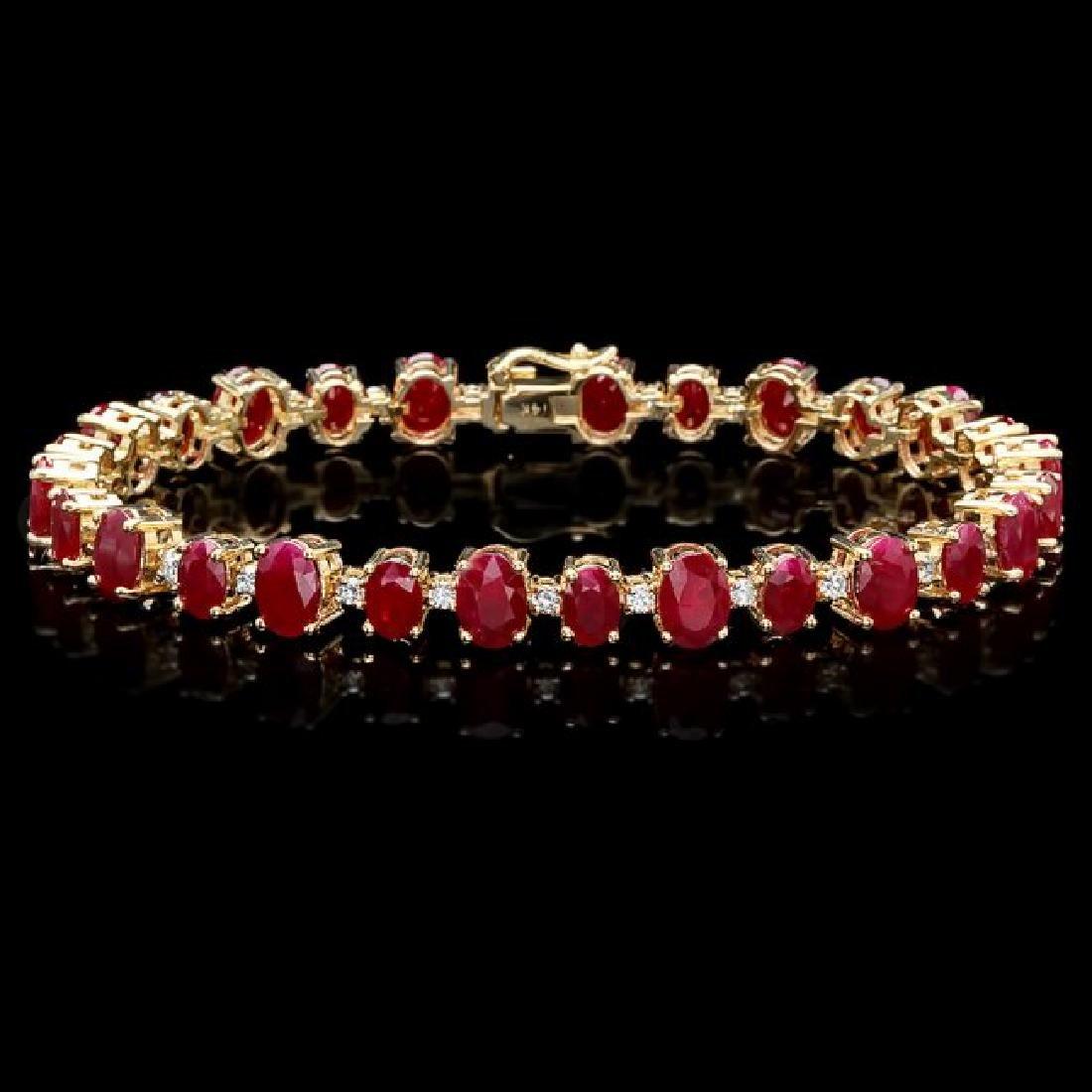 14k Gold 21.00ct Ruby 0.90ct Diamond Bracelet