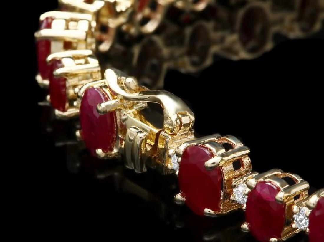 14k Gold 21.00ct Ruby 0.90ct Diamond Bracelet - 2