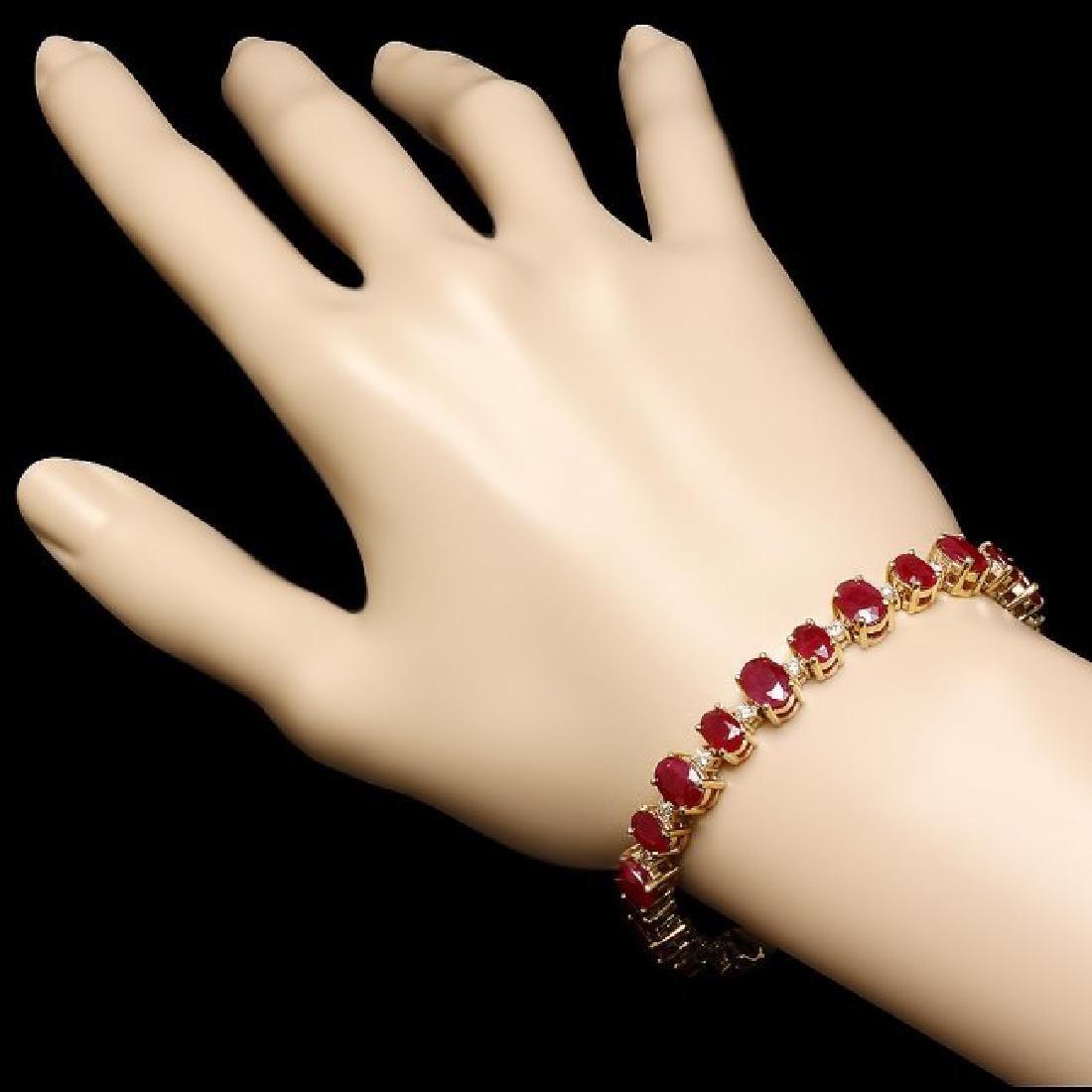 14k Gold 21.00ct Ruby 0.90ct Diamond Bracelet - 3