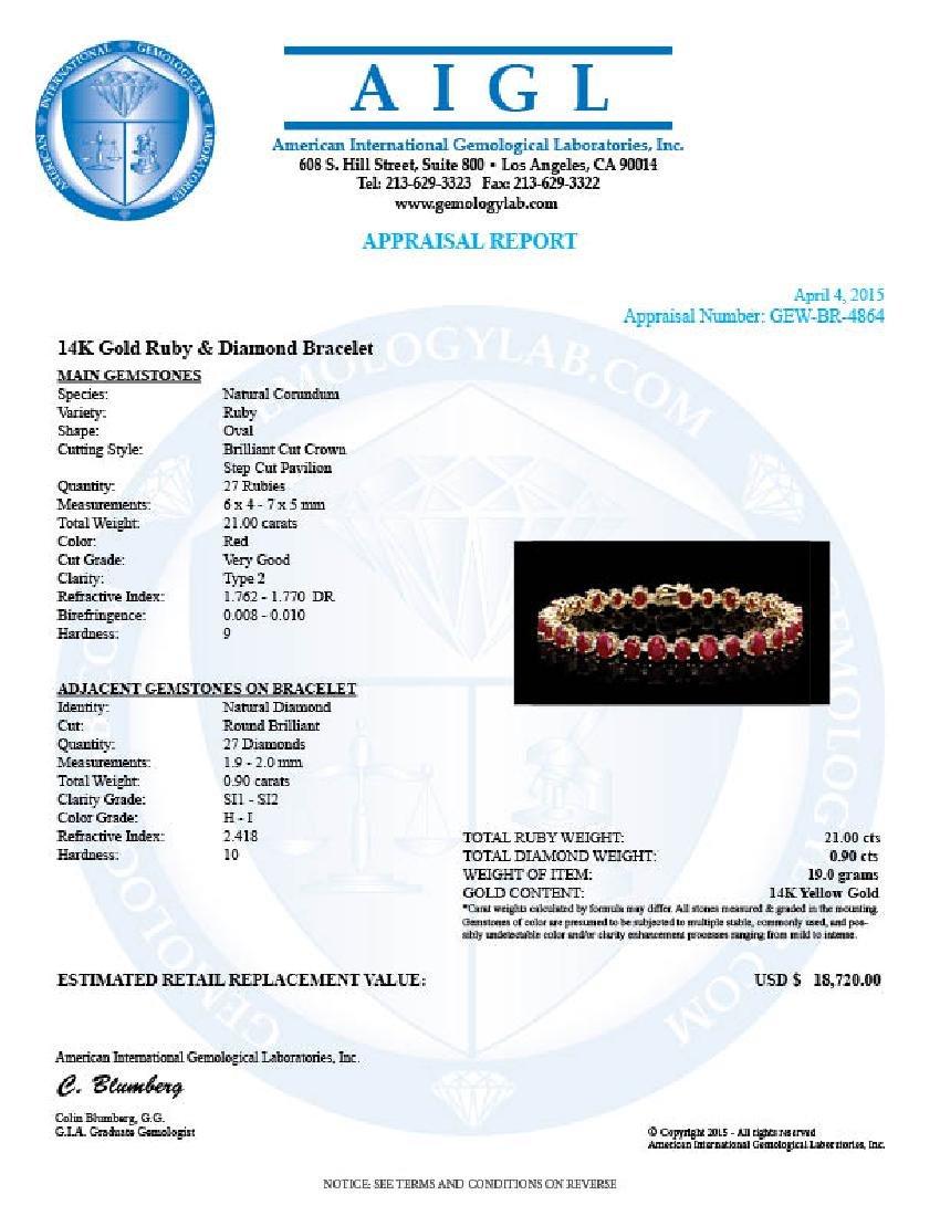 14k Gold 21.00ct Ruby 0.90ct Diamond Bracelet - 5