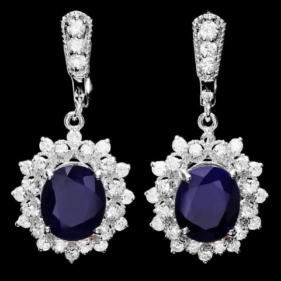 14k Gold 9ct Sapphire 1.90ct Diamond Earrings