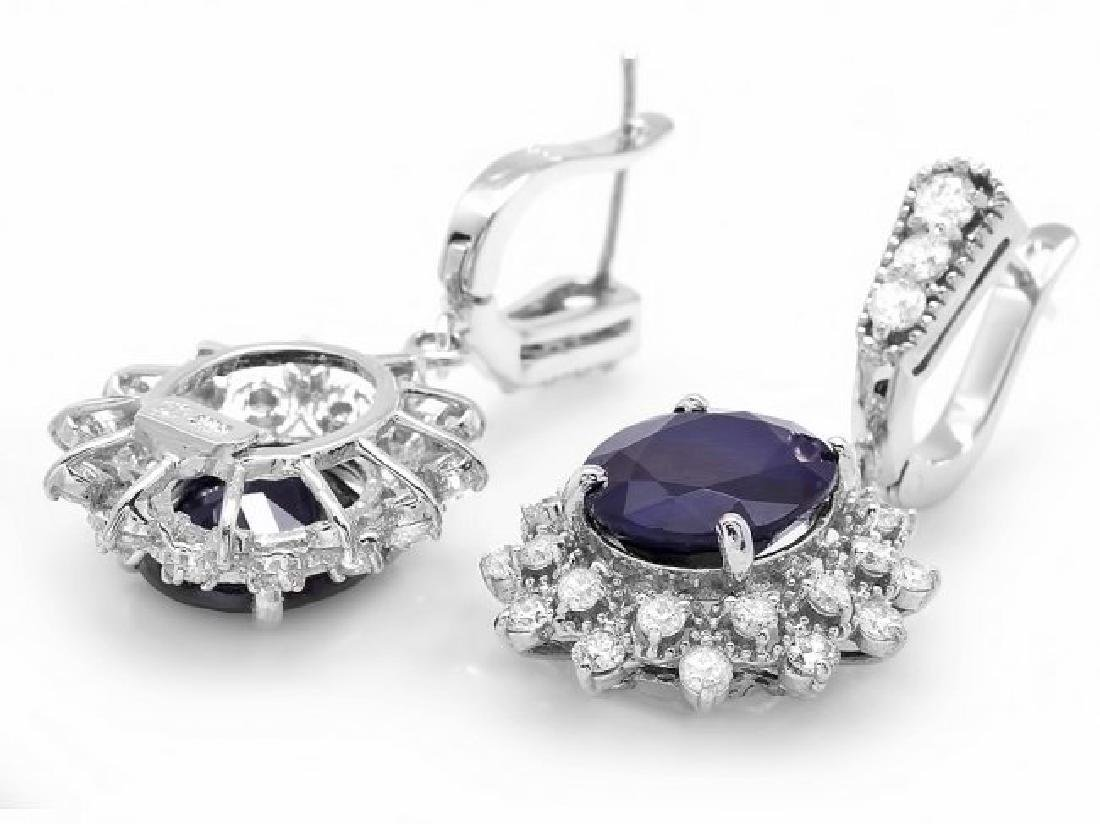 14k Gold 9ct Sapphire 1.90ct Diamond Earrings - 2