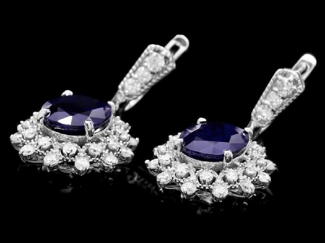 14k Gold 9ct Sapphire 1.90ct Diamond Earrings - 3