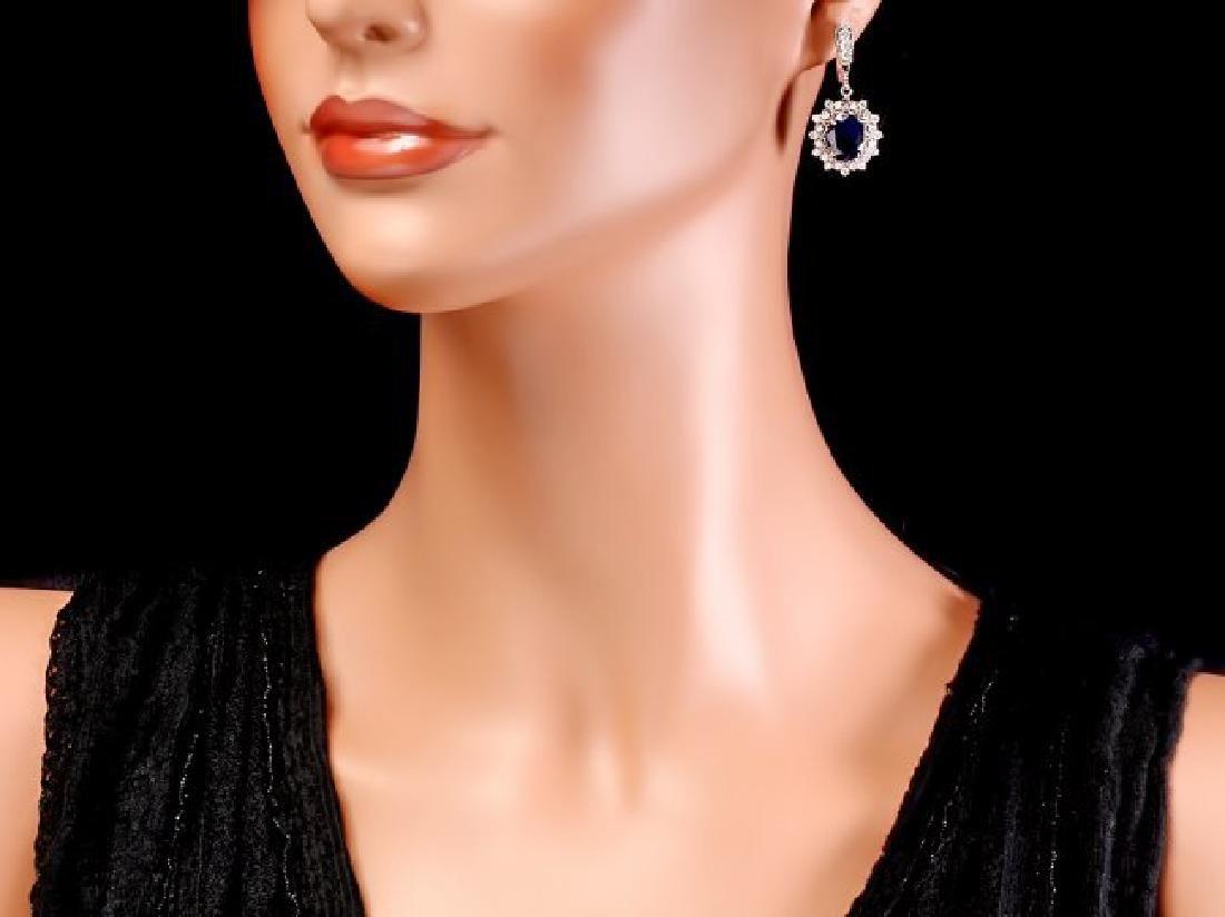 14k Gold 9ct Sapphire 1.90ct Diamond Earrings - 4