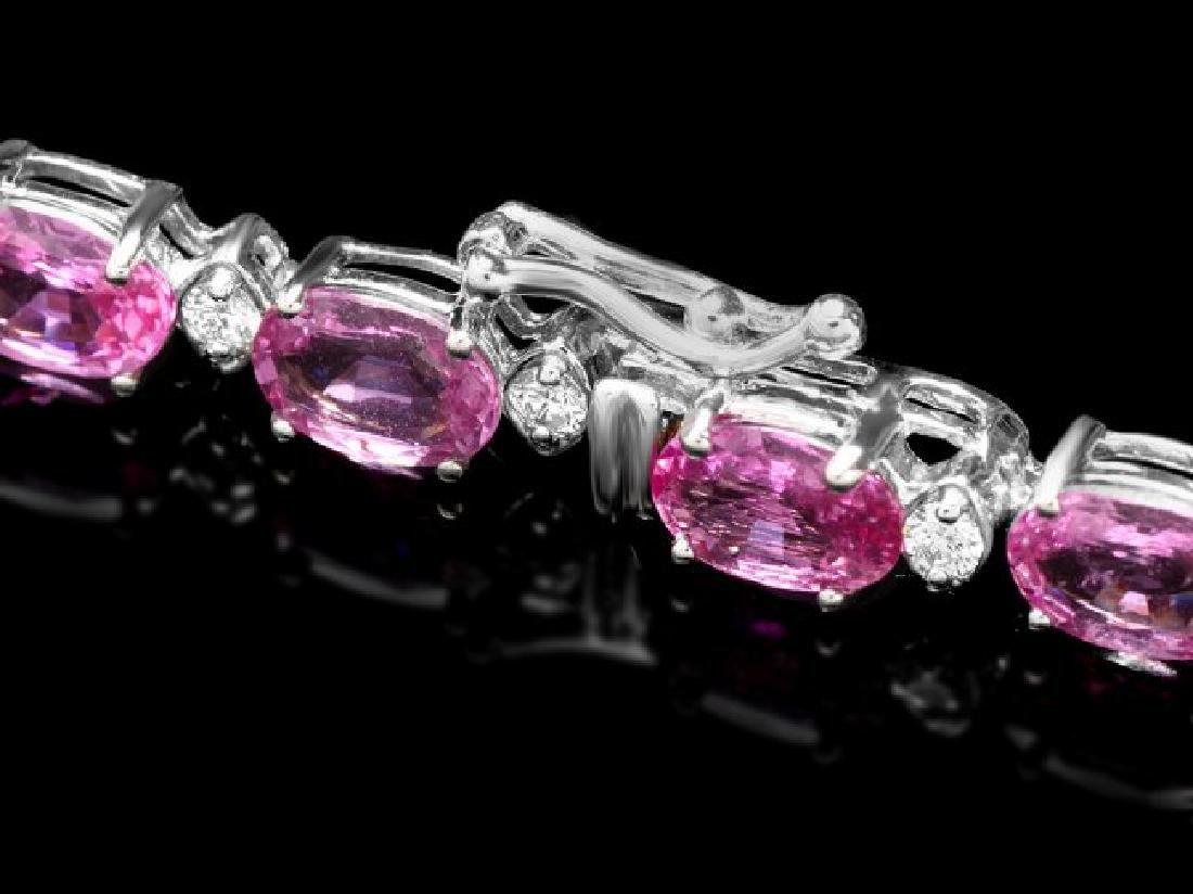 14k Gold 17ct Sapphire .75ct Diamond Bracelet - 3