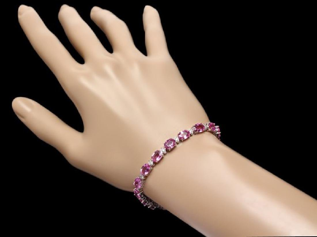 14k Gold 17ct Sapphire .75ct Diamond Bracelet - 4