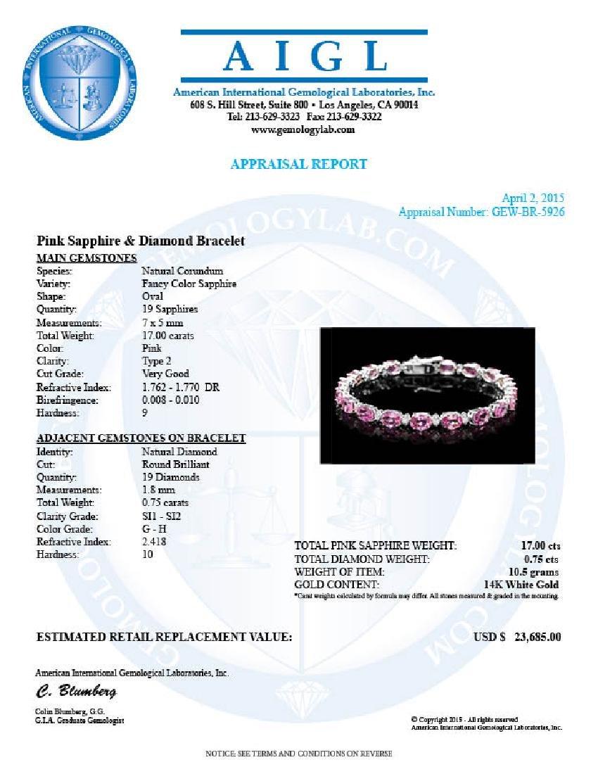 14k Gold 17ct Sapphire .75ct Diamond Bracelet - 6