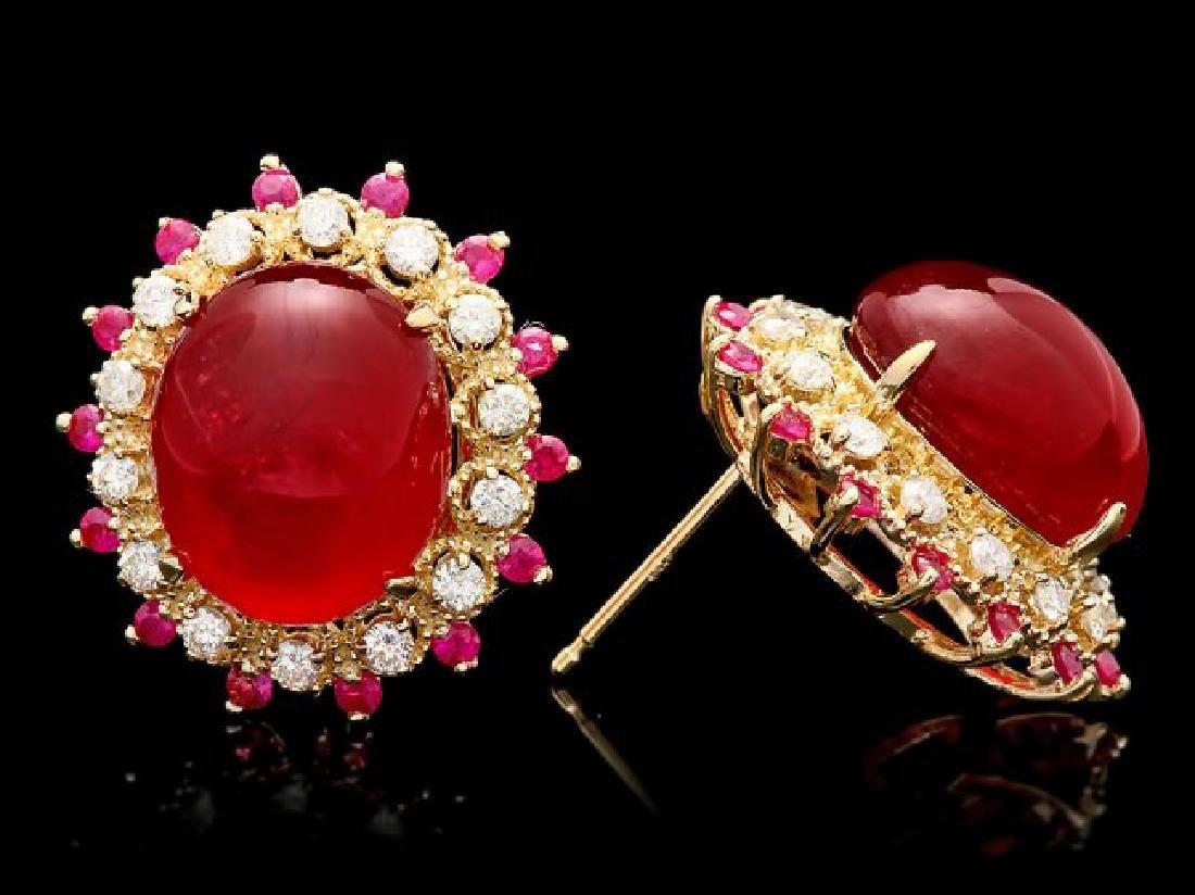 14k Gold 22.7ct Ruby 0.80ct Diamond Earrings - 3