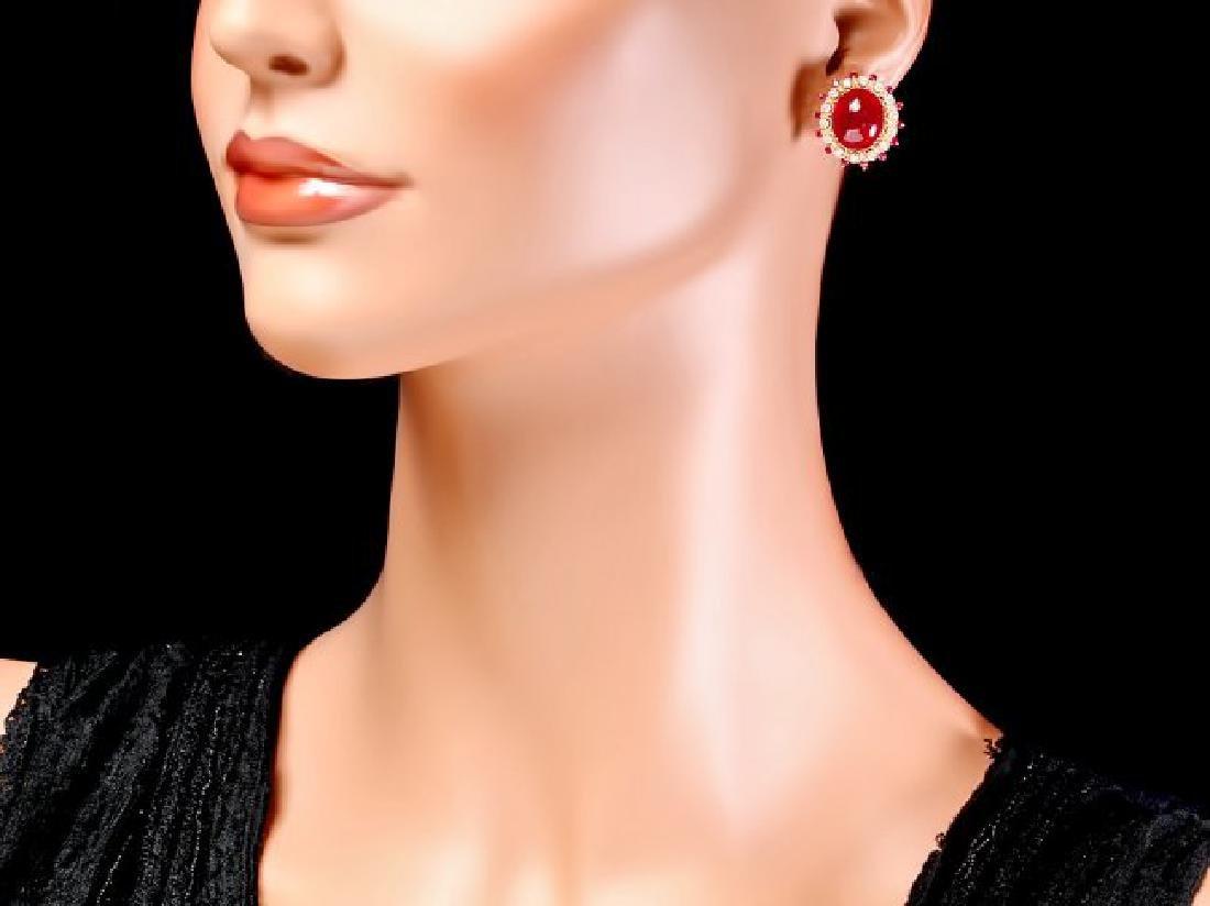 14k Gold 22.7ct Ruby 0.80ct Diamond Earrings - 4
