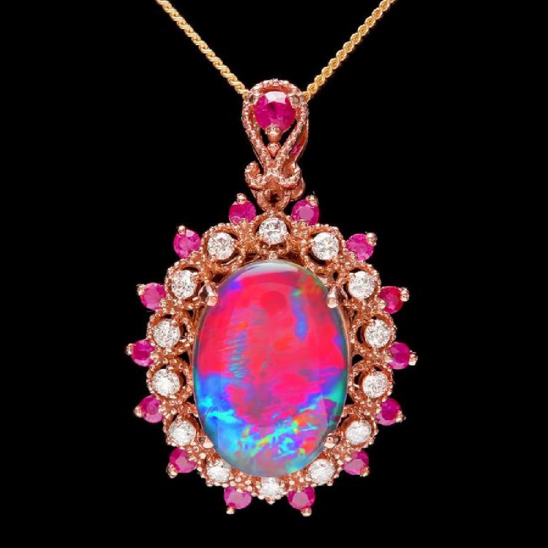 14k Rose Gold 3.50ct Opal 0.35ct Diamond Pendant