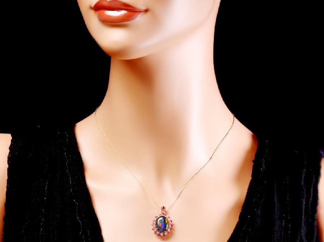 14k Rose Gold 3.50ct Opal 0.35ct Diamond Pendant - 3