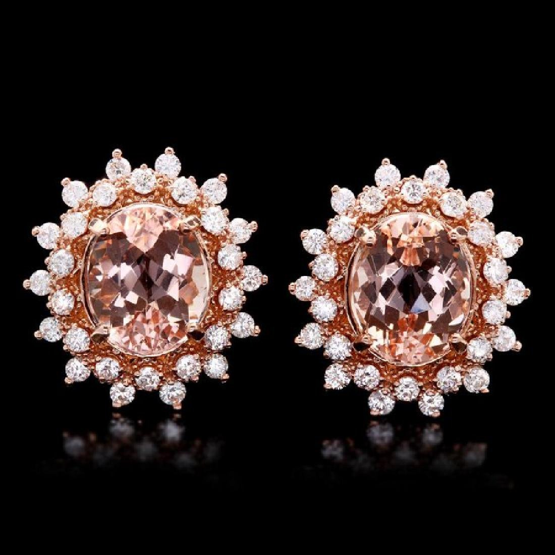14k Rose 8ct Morganite 1.75ct Diamond Earrings