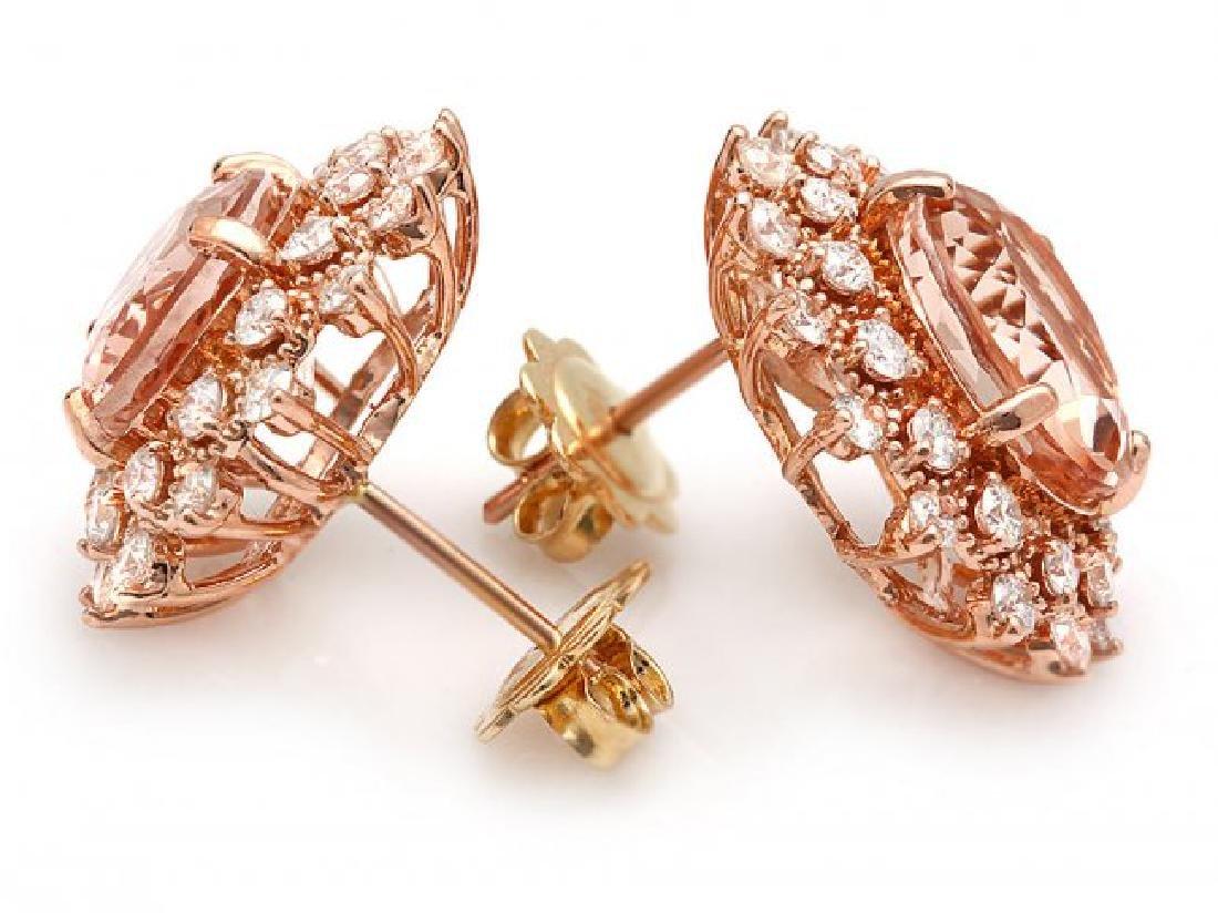 14k Rose 8ct Morganite 1.75ct Diamond Earrings - 2