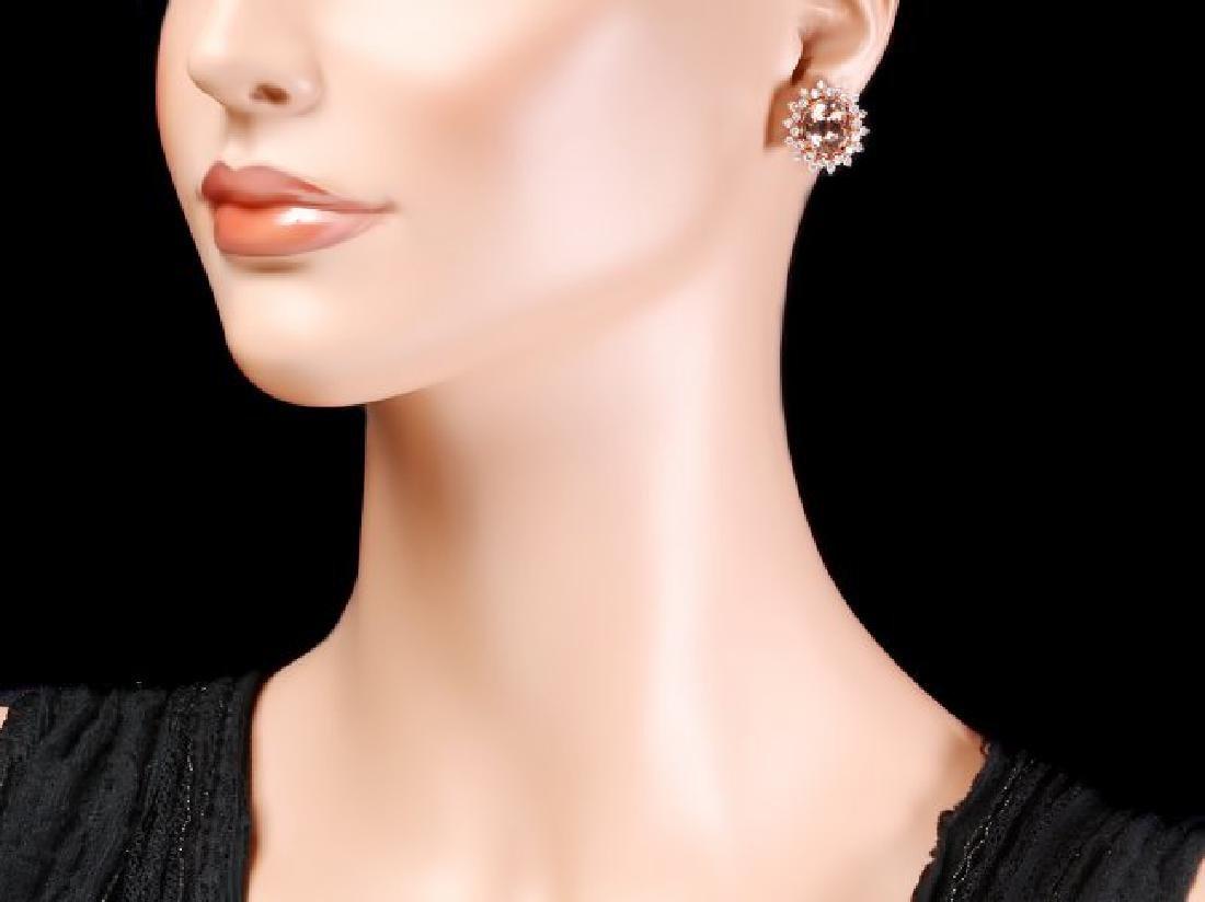 14k Rose 8ct Morganite 1.75ct Diamond Earrings - 4