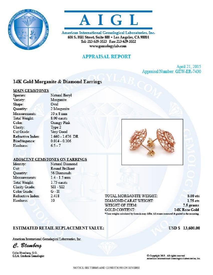 14k Rose 8ct Morganite 1.75ct Diamond Earrings - 5