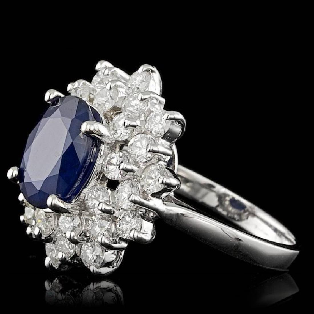 14k Gold 3.30ct Sapphire 1.74ct Diamond Ring - 2