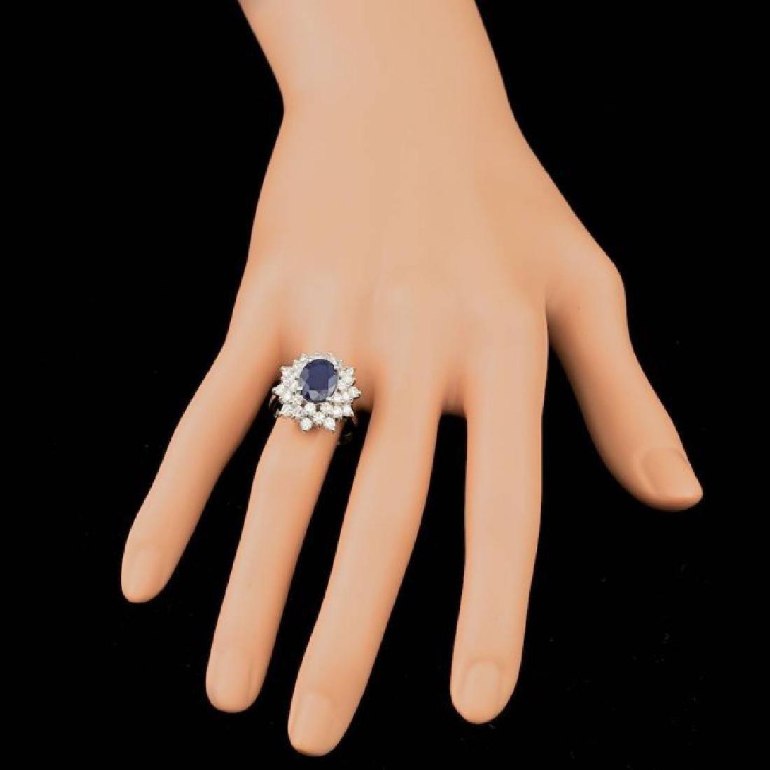 14k Gold 3.30ct Sapphire 1.74ct Diamond Ring - 3